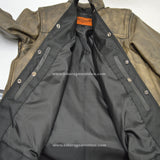 LIGHTWEIGHT LEATHER SHIRT DISTRESSED BROWN