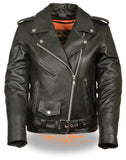 WOMEN'S MOTORCYCLE CLASSIC TRADITIONAL POLICE LEATHER JACKET