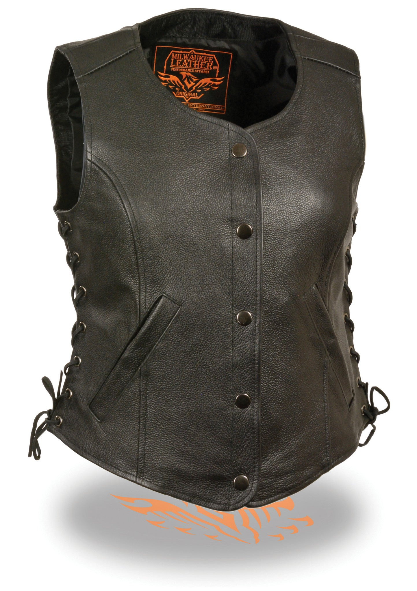 WOMEN'S RIDER 5 SNAPS LEATHER CLASSIC VEST W/ SIDE LACES
