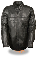 MEN'S LIGHTWEIGHT COWHIDE LEATHER SHIRT W/ GUN POCKET