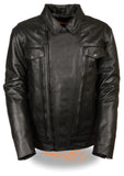 MEN'S UTILITY POCKET CRUISER LEATHER JACKET