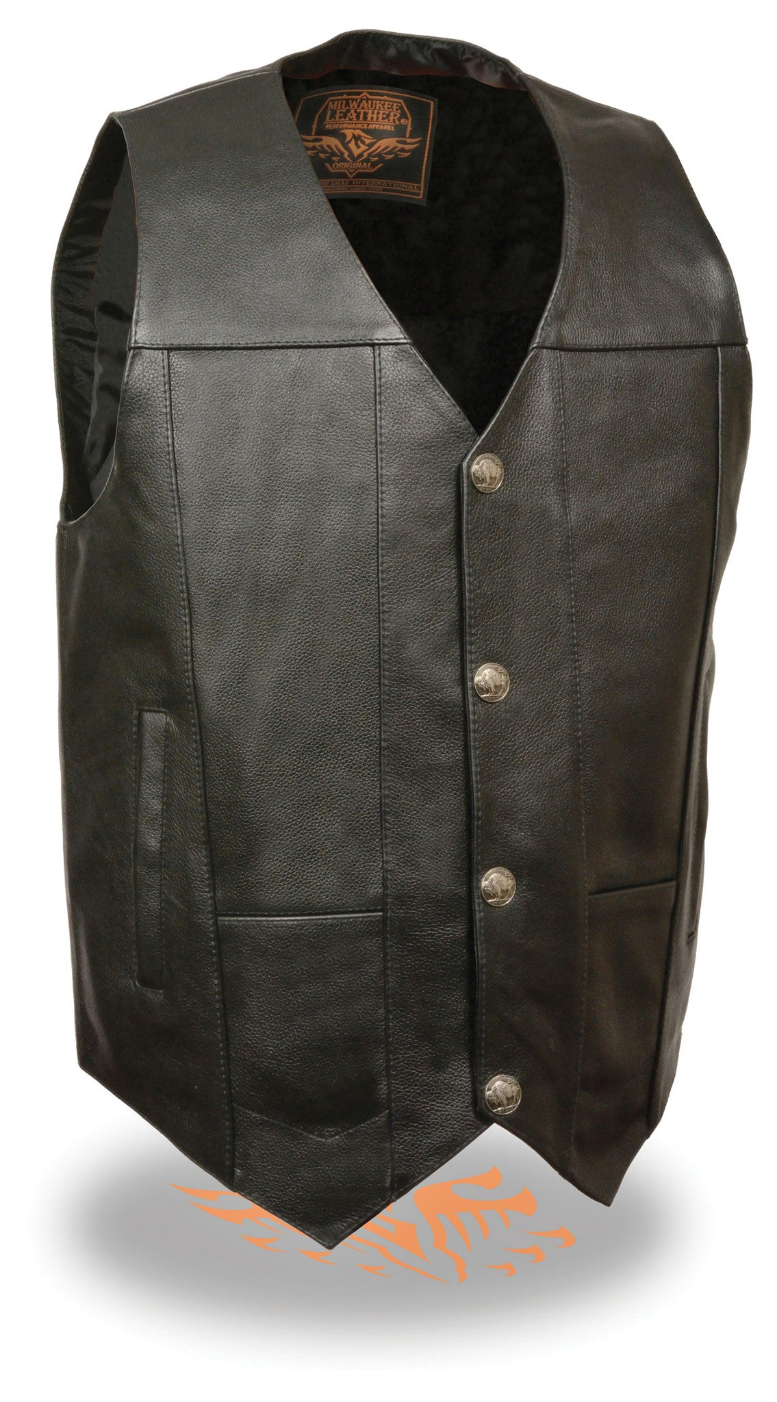 BUFFALO SNAPS SOFT LEATHER BIKERS VEST BLACK