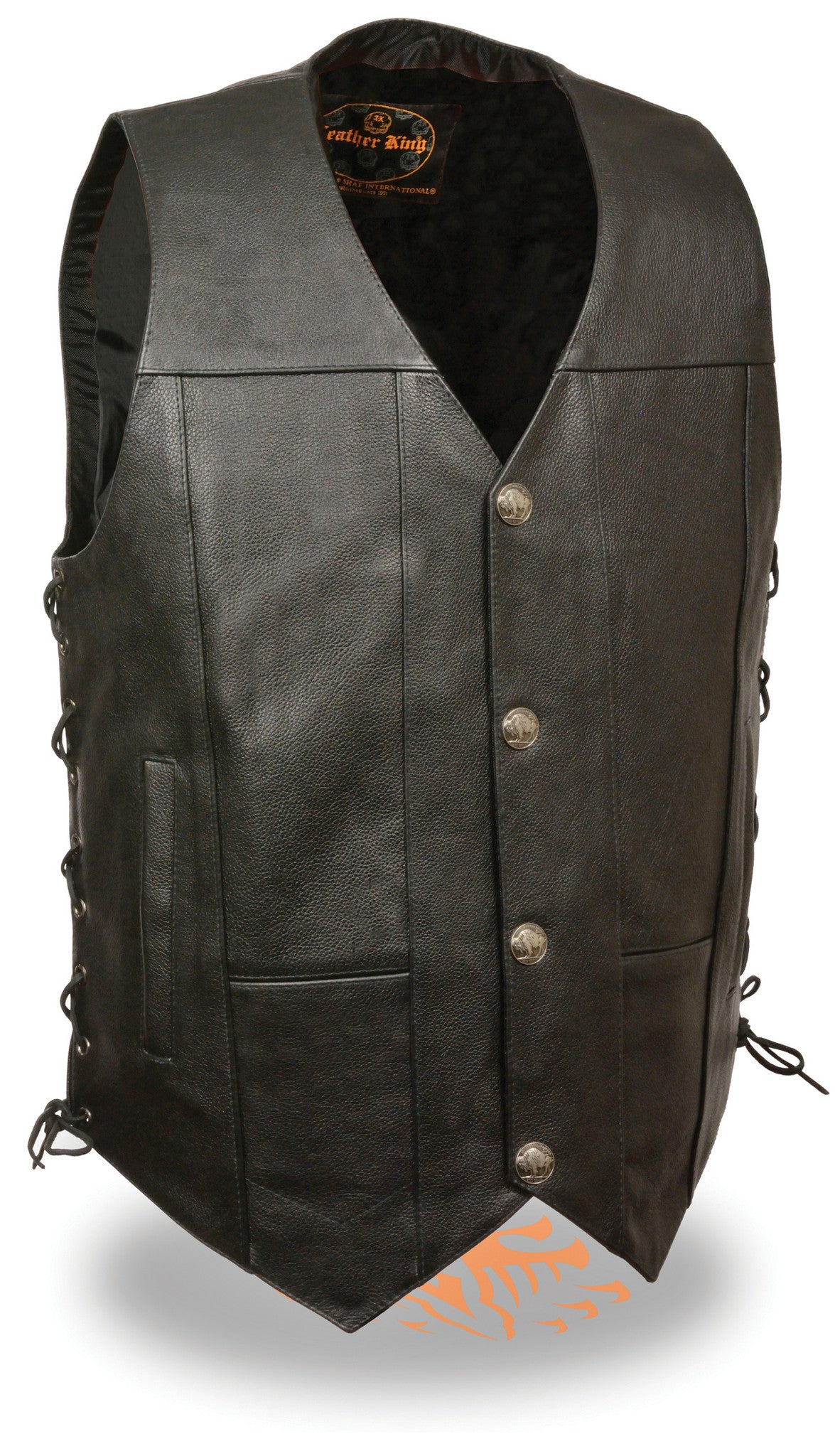 LEATHER VEST W/ BUFFALO SNAPS SOFT LEATHER SIDE LACES