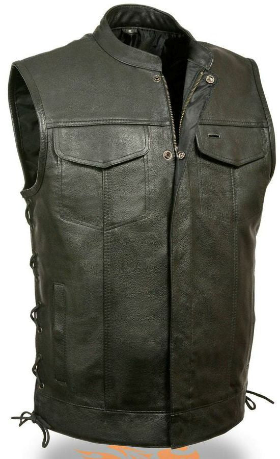 Mens Leather Motorcycle Club And Biker Vest With Side Laces Vest