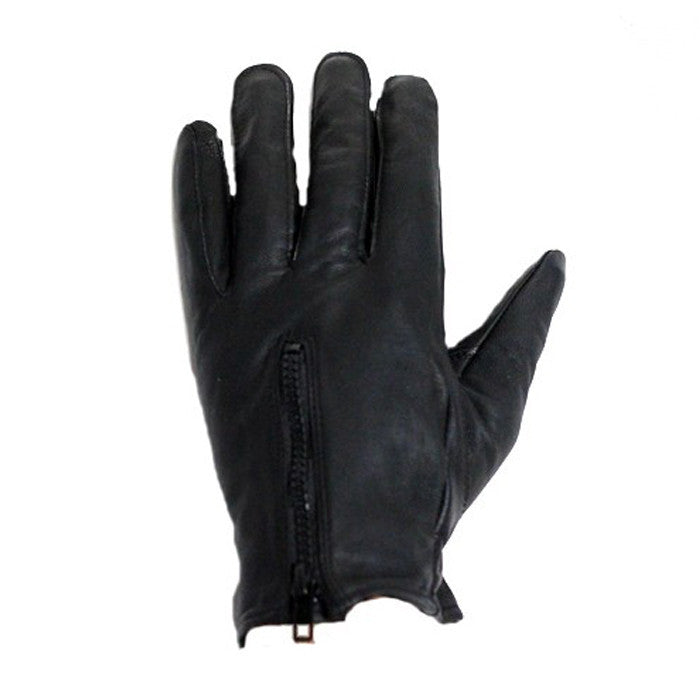 Lined Leather Gloves With Zipper