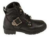 LADIES MOTORCYCLE SIDE BUCKLE PLAIN TOE BOOT