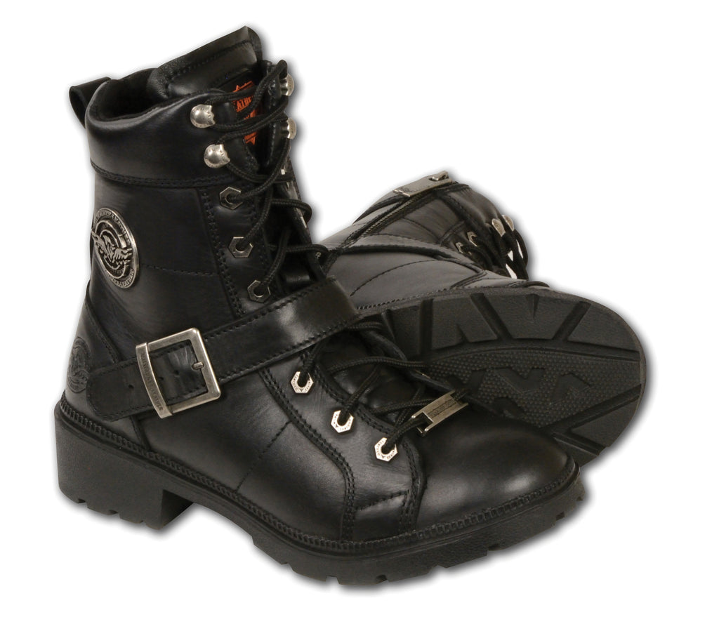 LADIES MOTORCYCLE LACE TO TOE SIDE BUCKLE LEATHER BOOT W/ PLAIN TOE