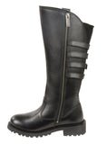 "LADIES LEATHER MOTORCYCLE 15"" HIGH RISE RIDING BOOT W/ BUCKLES"