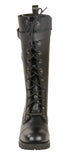LADIES MOTORCYCLE 14 INCH LACE TO TOE HIGH RISE LEATHER BOOT W/ CALF BUCKLE