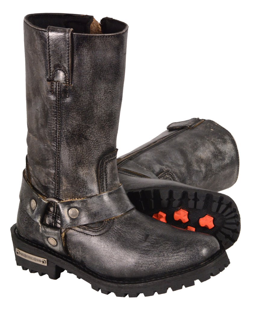 LADIES MOTORCYCLE GENUINE LEATHER DISTRESSED GREY BOOTS
