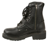 MEN'S MOTORBIKE REAL LEATHER BUCKLED & LACE TO TOE BOOT WITH SIDE ZIPPER