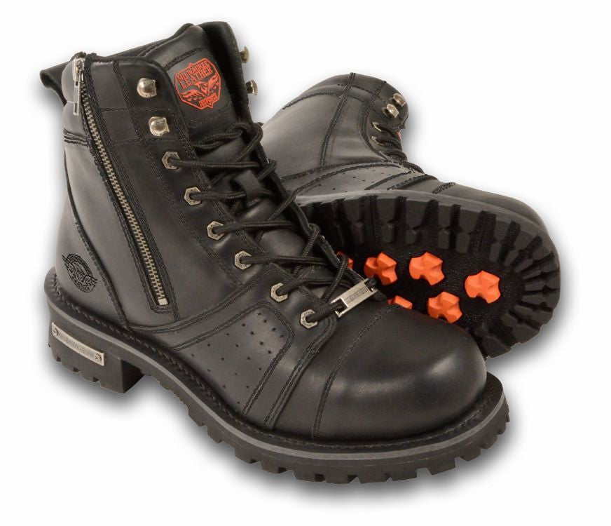 MEN'S MOTORCYCLE BOOTS PURE LEATHER 6 INCH ZIPPER