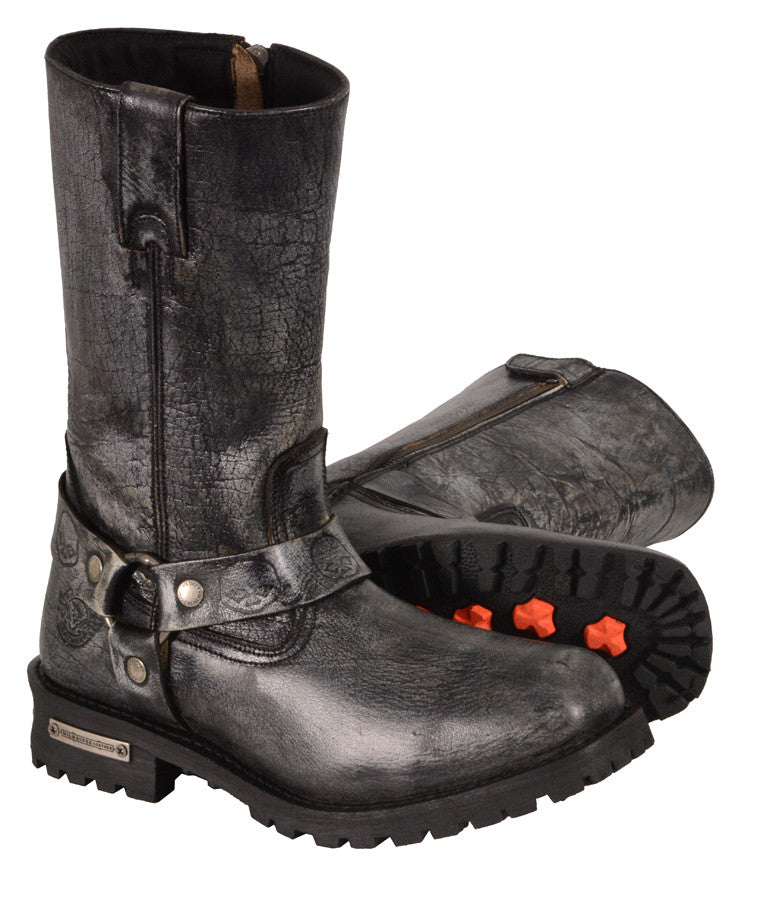 MEN'S MOTORCYCLE GENUINE LEATHER DISTRESSED GREY 11 INCH BOOT
