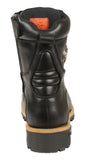 MEN'S MOTORBIKE BOOT PURE LEATHER LACE TO TOE BOOT BLACK NEW