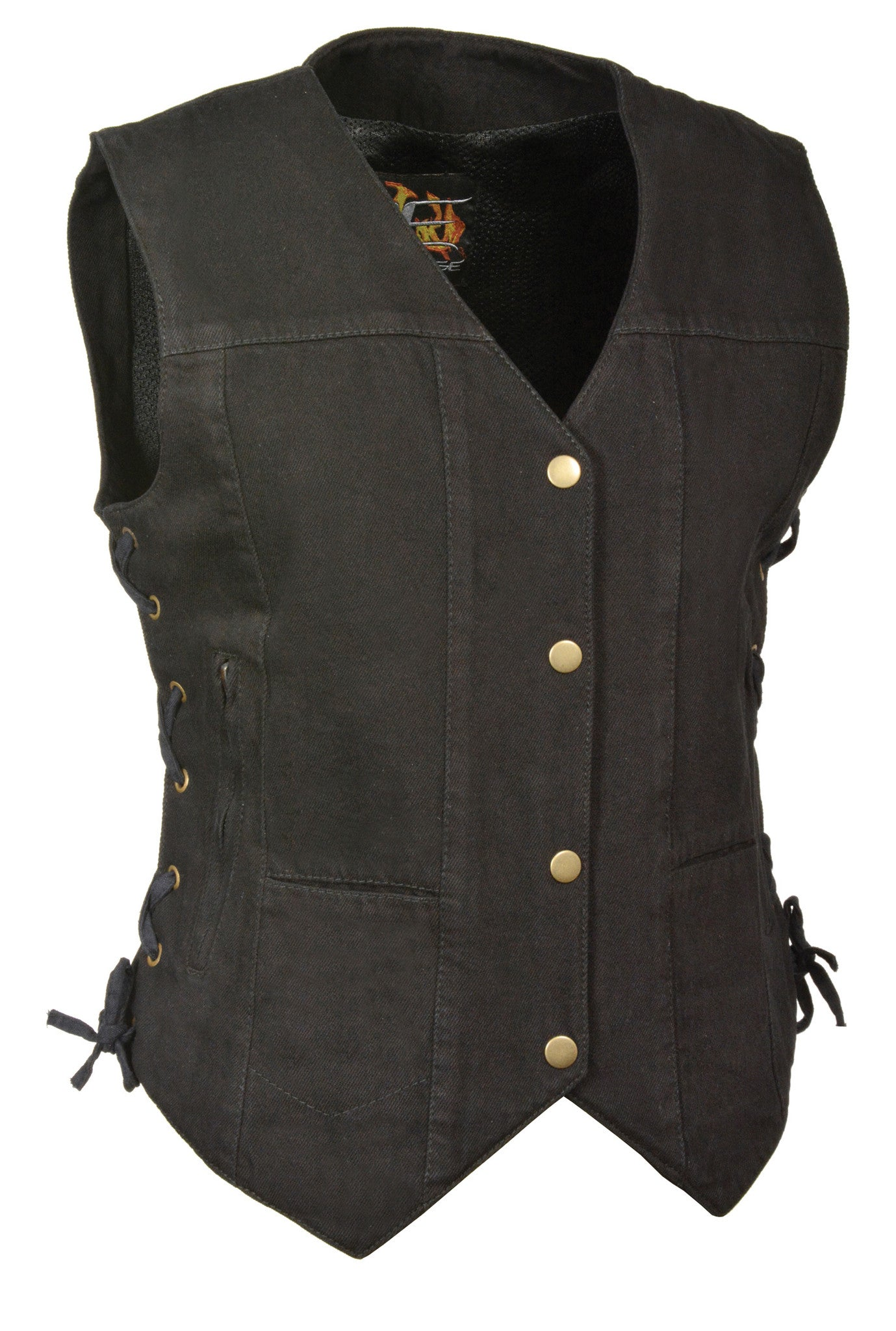 LADIES 6 POCKET DENIM VEST W/ SIDE LACES BLACK