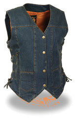 LADIES 6 POCKET DENIM VEST W/ SIDE LACES