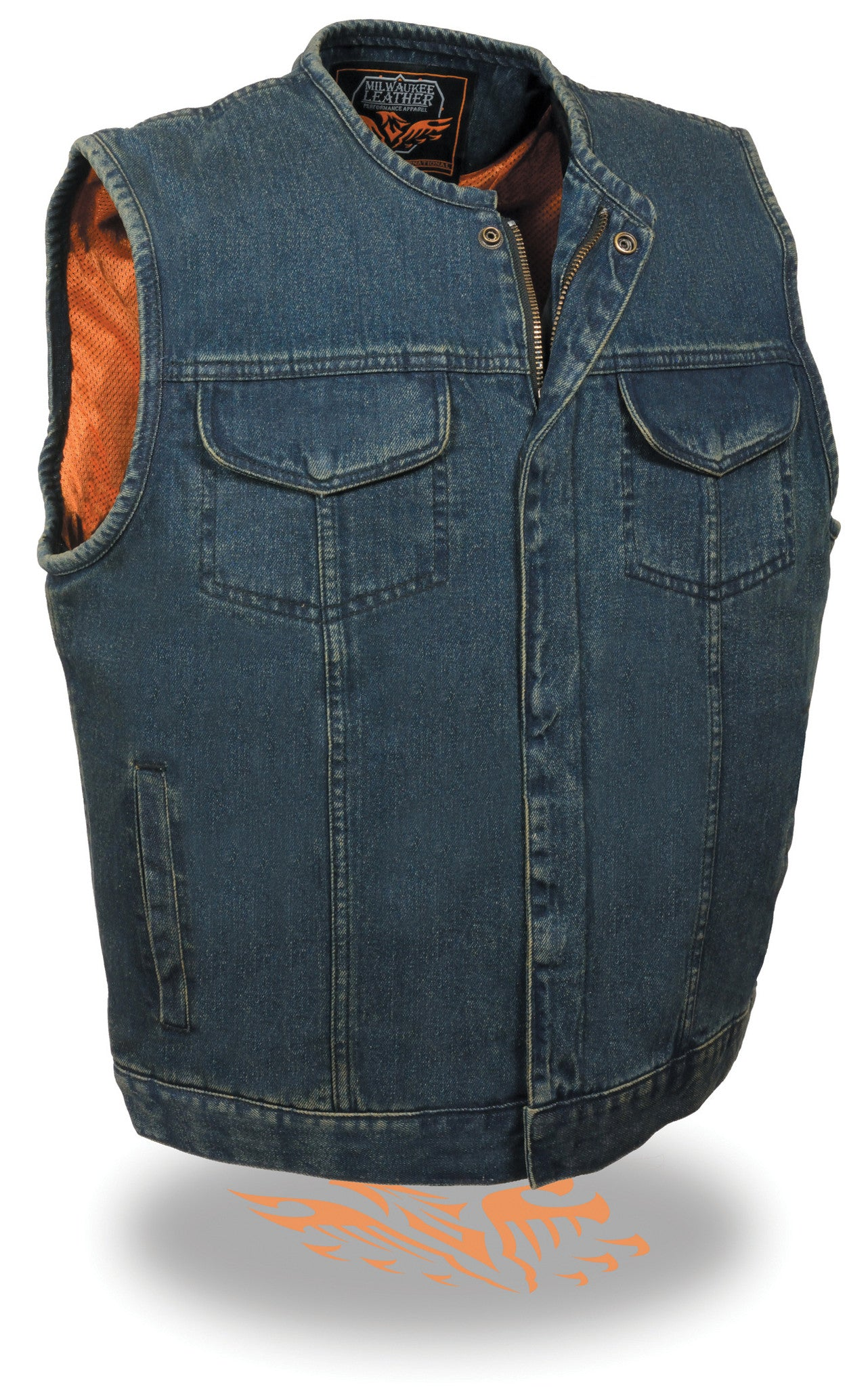 MEN'S BLUE DENIM VEST GUN POCKET INSIDE W ZIPPER