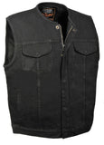 MEN'S MOTORCYCLE BLACK DENIM VEST GUN POCKETS ZIPPER