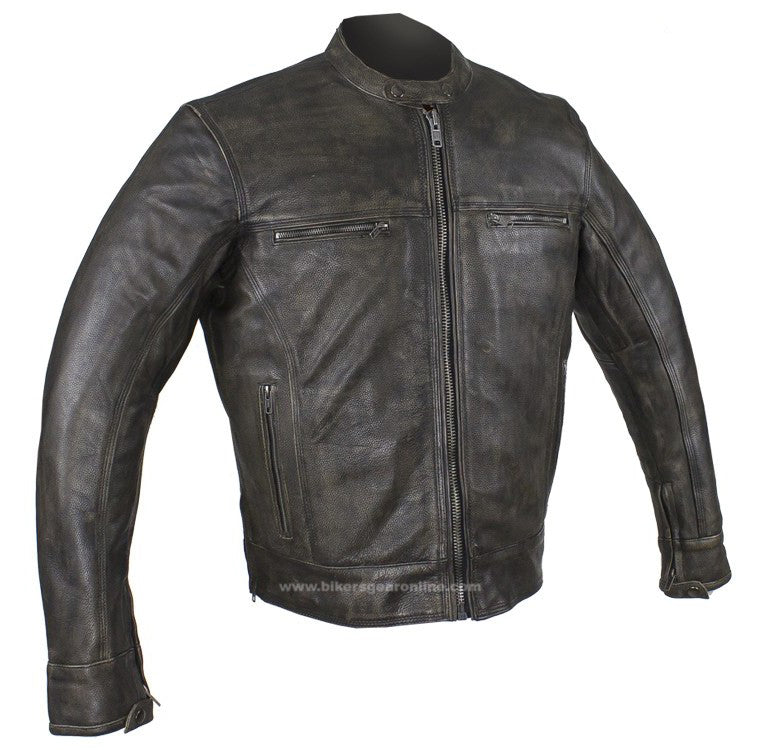 Distressed Brown Racer Jacket with Concealed Carry Pockets