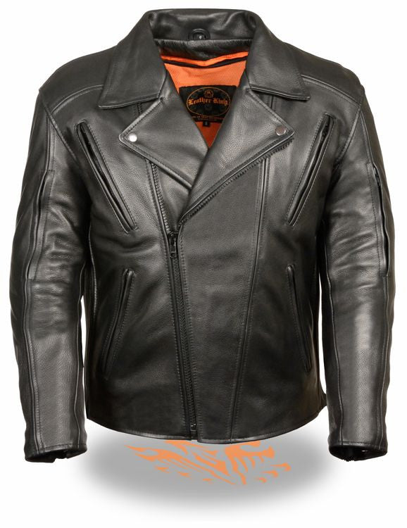MEN'S MOTORBIKE BELT LESS UTILITY LEATHER JACKET