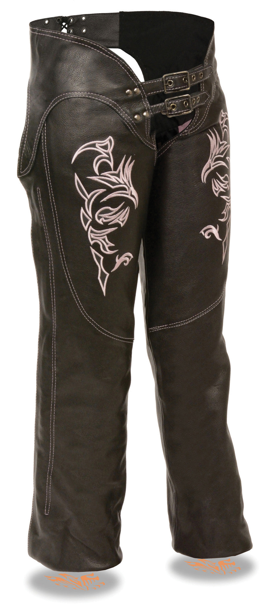 WOMEN'S MOTORCYCLE LEATHER CHAP W PINK EMBROIDERY REFLECTIVE
