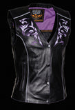 RIDING BLACK LEATHER VEST W PURPLE REFLECTIVE TRIBAL
