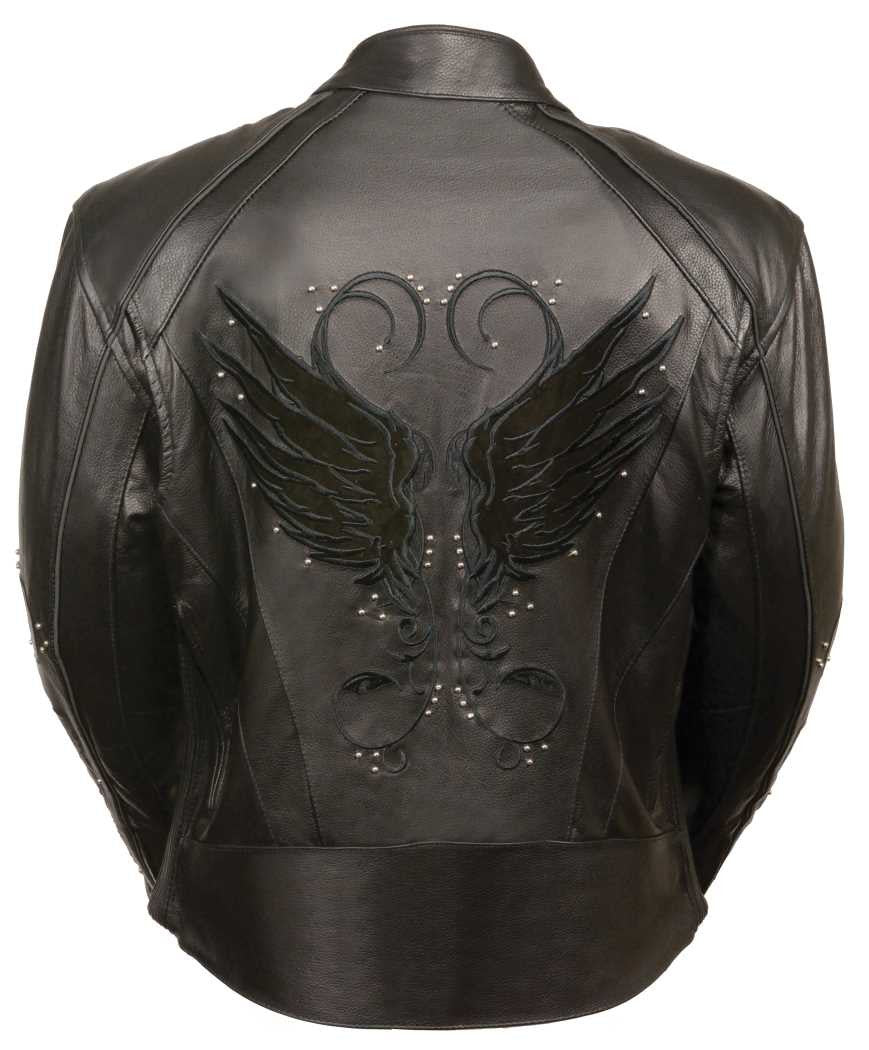 WOMEN'S MOTORCYCLE RIDING BLACK COLOR LEATHER JACKET STUD & WINGS