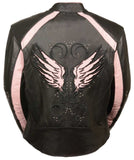 WOMEN'S MOTORCYCLE RIDING BLACK /PINK LEATHER JACKET W STUD & WING