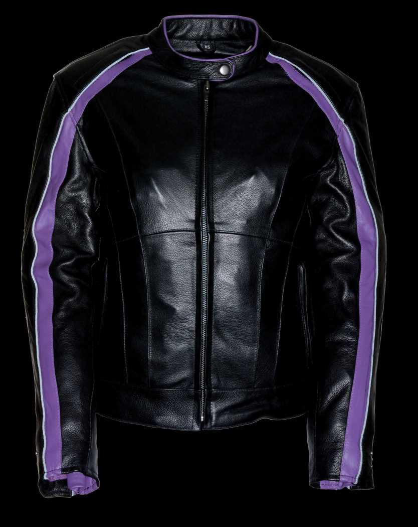 Womens Motorcycle Riding Black Purple Leather Jacket W -1718