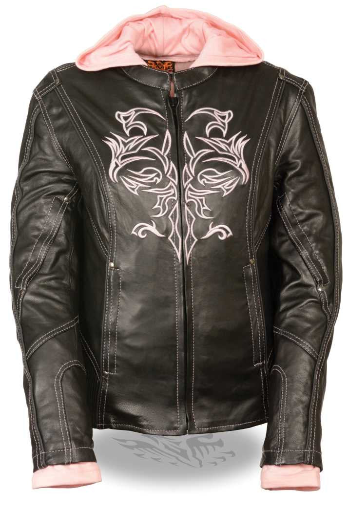 WOMEN'S RIDING BLACK /PINK LEATHER JACKET W TRIBAL DETAIL