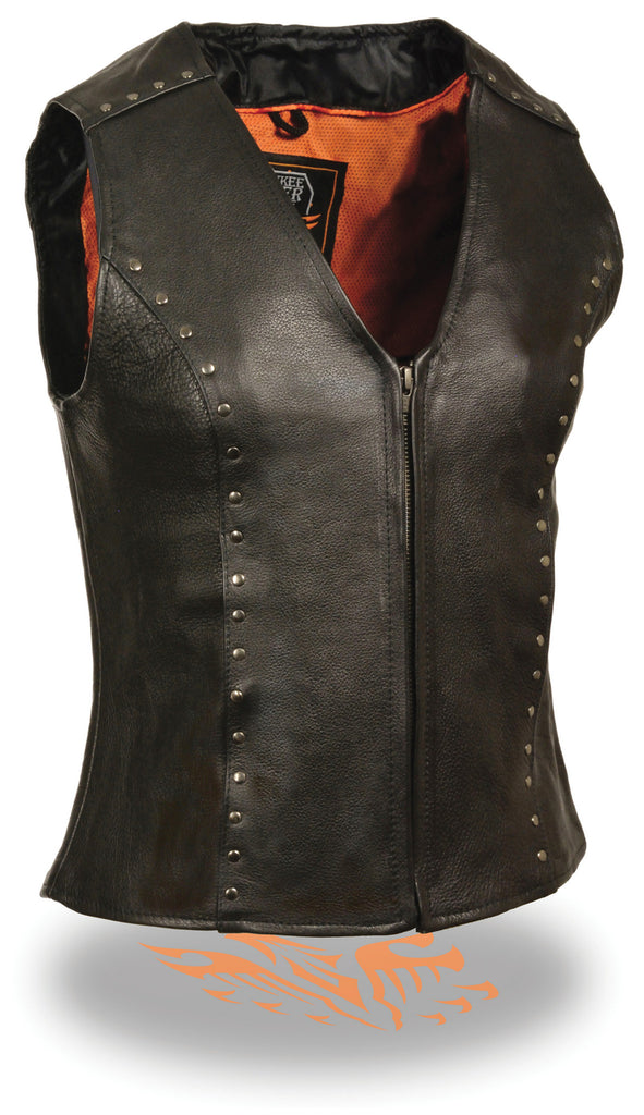 LADIES RIDING BLACK LEATHER VEST WITH STUDS SOFT LEATHER