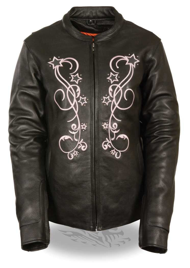 WOMEN'S STARS BLACK/ PINK LEATHER JACKET W/ RIVET DETAILING