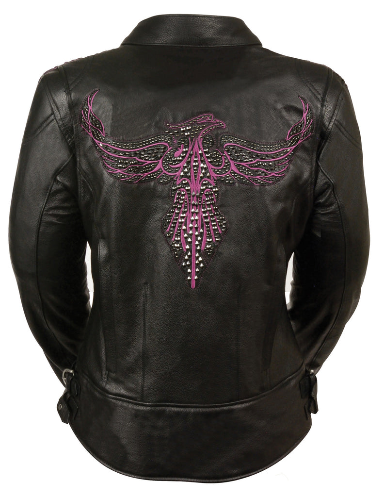 LADIES BLACK/ PINK RACER JACKET W/ PHEONIX STUDDING & EMBROIDERY