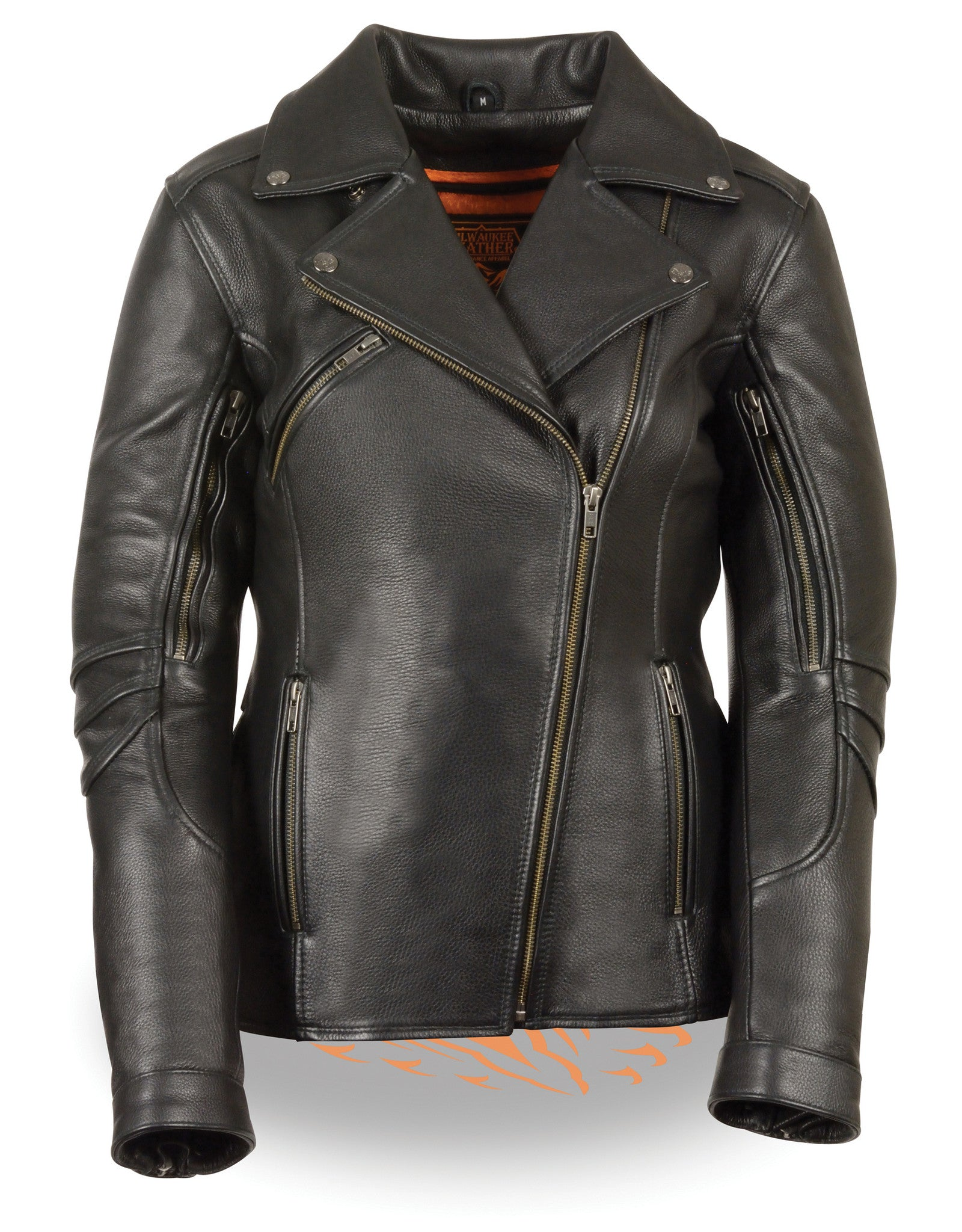 WOMEN'S MOTORCYCLE LONG LENGTH FITTED SOFT LEATHER JACKET BLACK