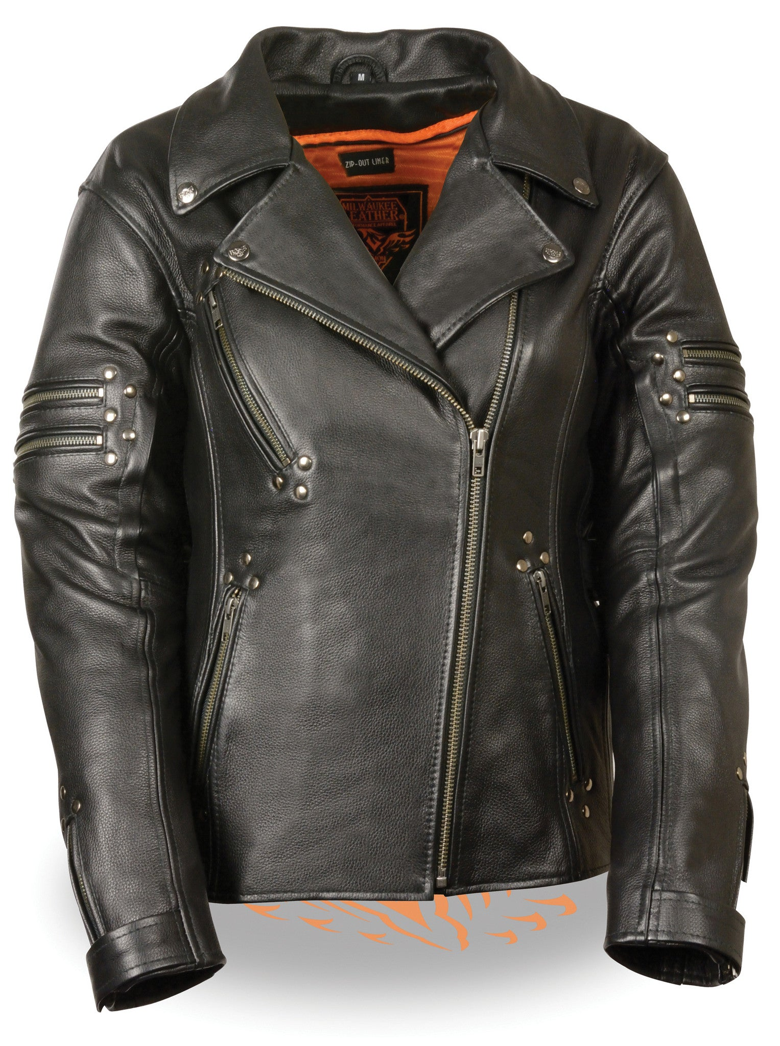 WOMEN'S FITTED LEATHER JACKET W/ RIVET DETAILING