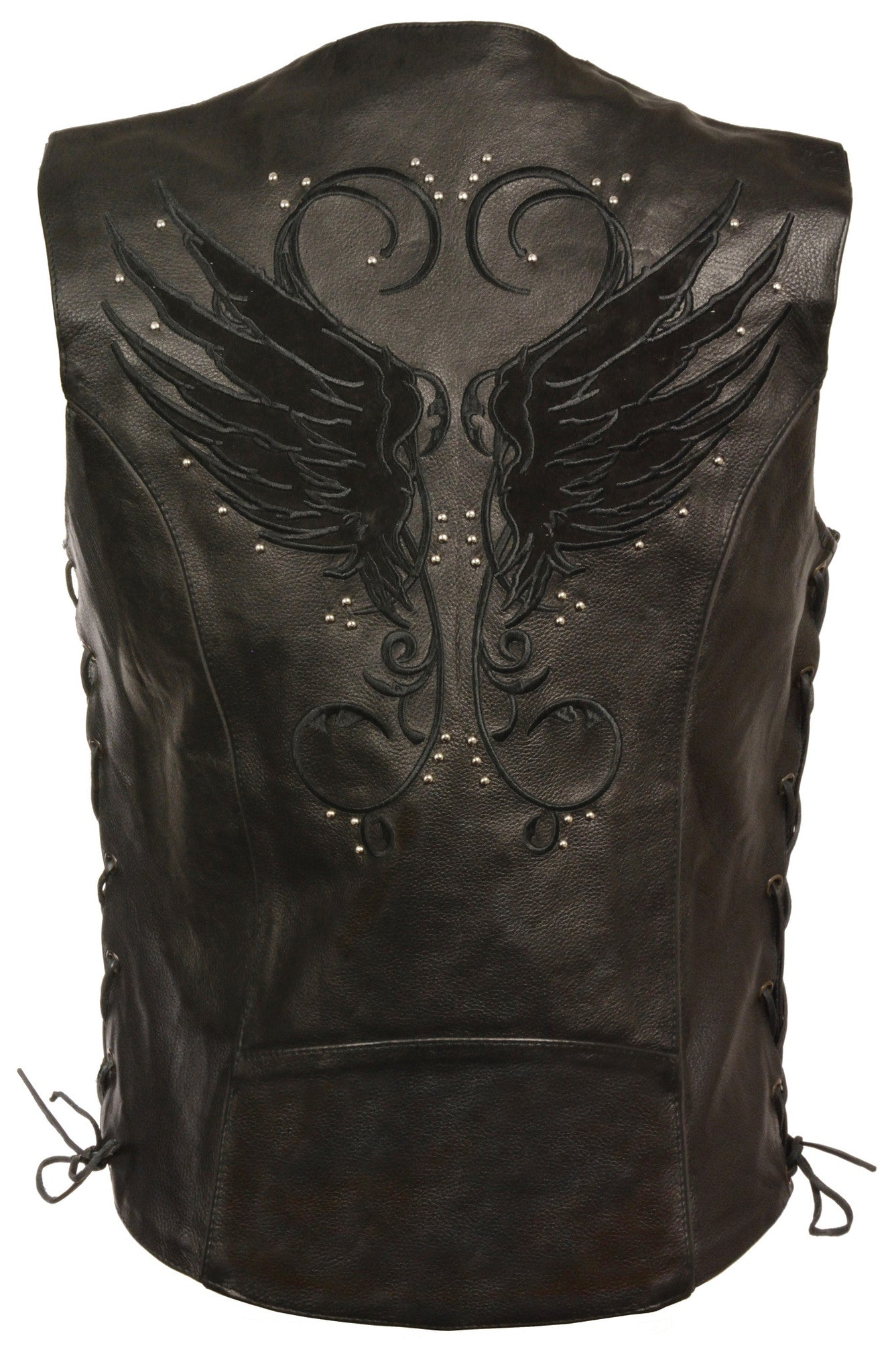WOMEN'S MOTORCYCLE RIDING BLACK LEATHER VEST W/ WINGS DETAILING SIDE LACE