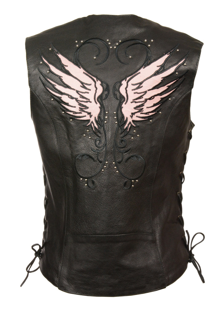 LADIES MOTORCYCLE RIDING BLACK/ PINK LEATHER VEST W/ WINGS DETAILING SIDE LACE