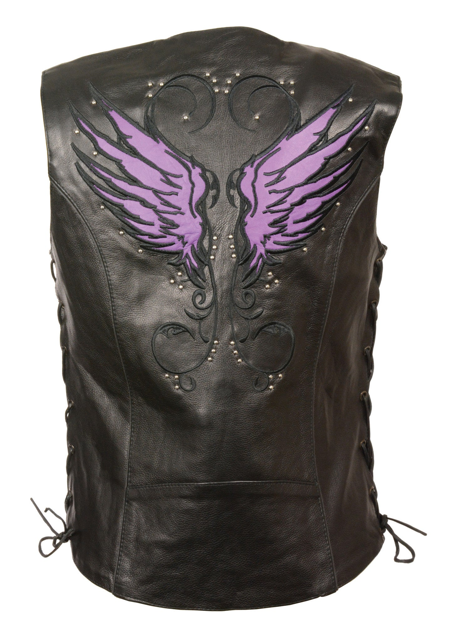 WOMEN'S RIDING LEATHER VEST W/ PURPLE WINGS DETAILING