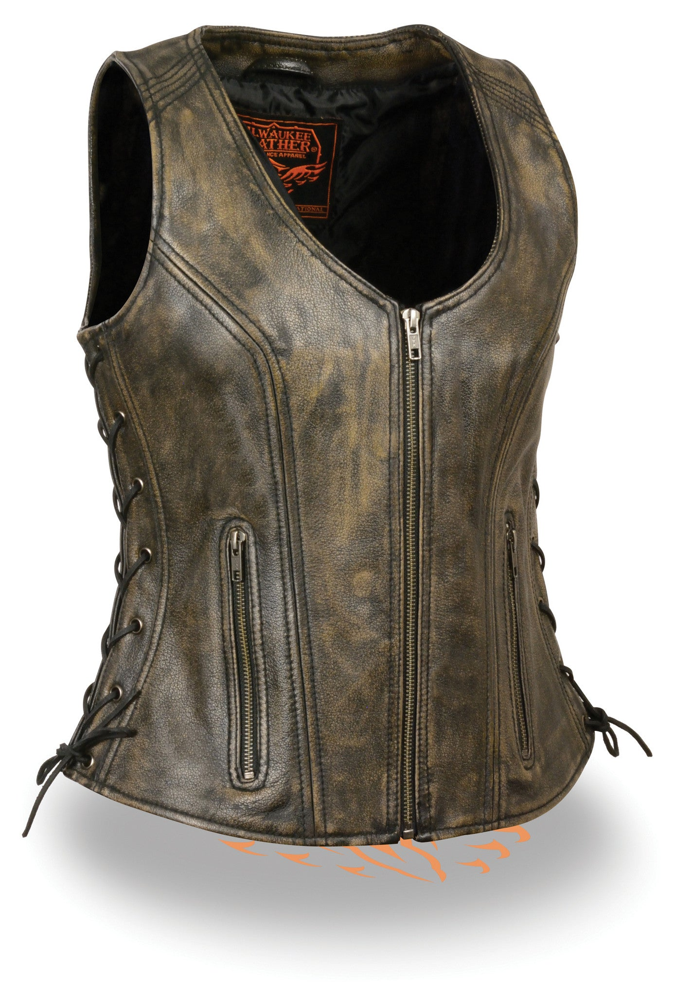 WOMEN'S DISTRESSED BROWN SOFT LEATHER VEST W/ SIDE LACES