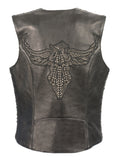 LADIES SNAP FRONT VEST W/ PHOENIX STUDDING & EMBROIDERY