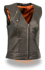 LADIES BLACK LIGHTWEIGHT SNAP FRONT VEST W/ CRINKLE DETAILING
