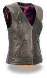 LADIES BLACK/PURPLE LIGHTWEIGHT SNAP FRONT VEST W/ CRINKLE DETAILING