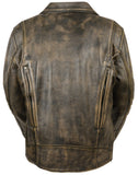 MEN'S TRIPLE STITCH BELTLESS DISTRESSES BROWN BIKER LEATHER JACKET