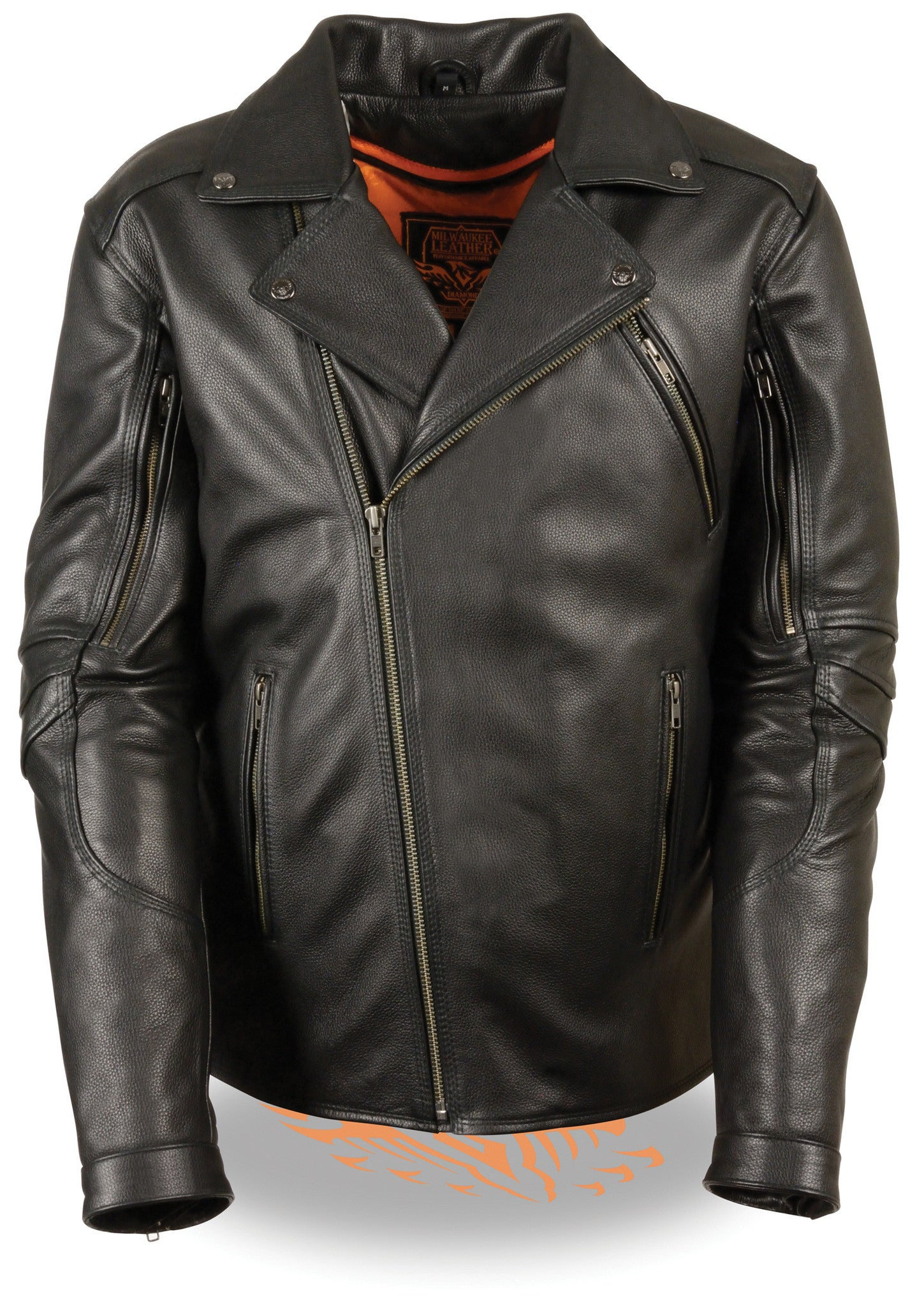 MEN'S MOTORCYCLE BELTLESS BIKER POLICE STYLE LEATHER JACKET