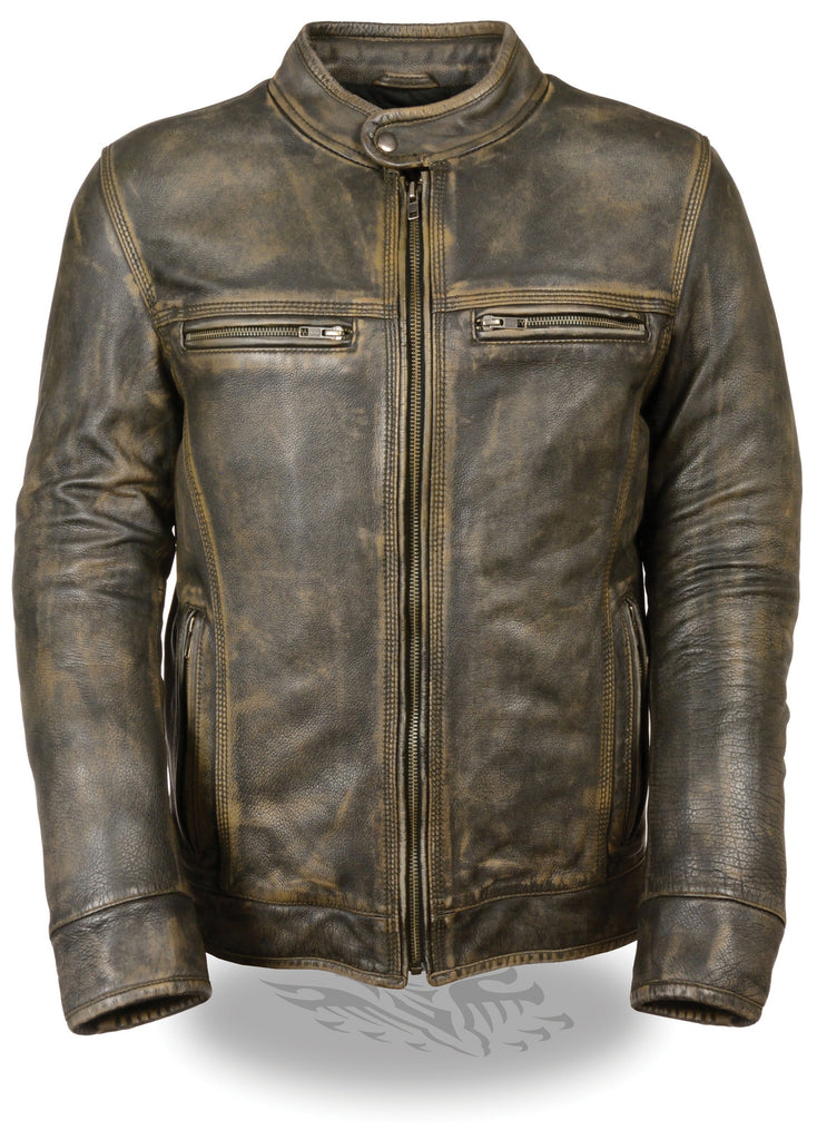 MEN'S MOTORCYCLE DISTRESSED BROWN SPORTY SCOOTER LEATHER JACKET