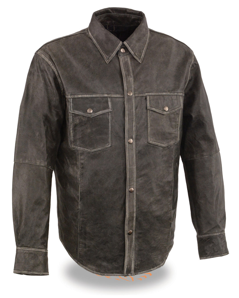 Men's Distressed Grey Lightweight Leather Snap Front Shirt