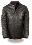 MEN'S SON OF ANARCHY CLUB STYLE LEATHER SNAP JACKET