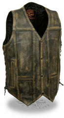 DISTRESSED BROWN 10 POCKETS LEATHER VEST SIDE LACES SOFT