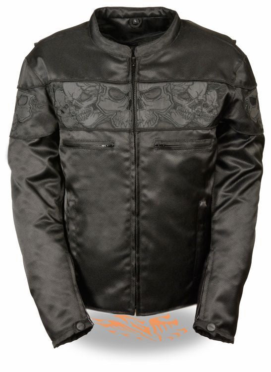 MEN'S REFLECTIVE SKULL MOTORCYCLE SCOOTER JACKET