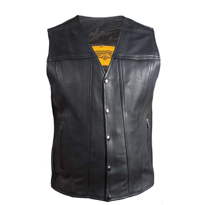 Mens Classic Motorcycle Club Vest With Gun Pockets